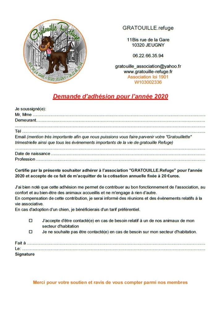 Gratouille Refuge - adhésion
