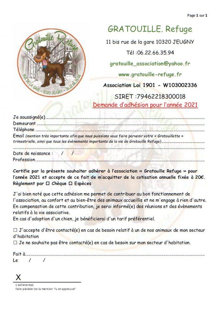 Gratouille Refuge - Bulletin d'Adhésion 2021